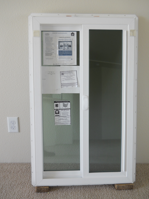 A triple-pane highly insulating window on display in one of the Lab Homes.