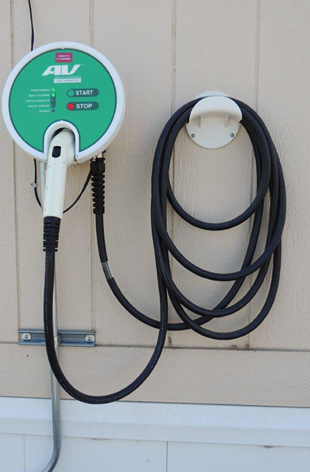 This AeroVironment Home Electric Vehicle Charging Station is one of the Experimental Lab Home's three electric vehicle charging stations.