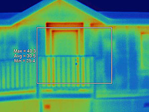 Infrared image of experimental home front door